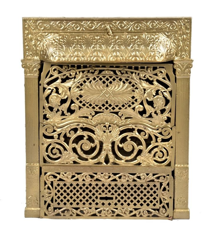 single late 19th century fully functional salvaged chicago interior residential ornamental cast iron fireplace gas insert with intact 3-section perforated grille - Products