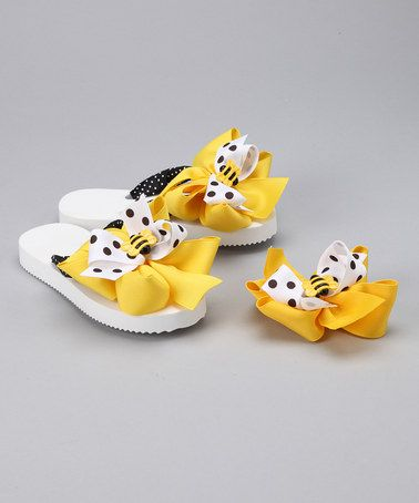 Take a look at this Polka Dot Bumblebee Flip-Flops & Hair Bow by Summer Accessories: Flip-Flops & Bows on #zulily today!