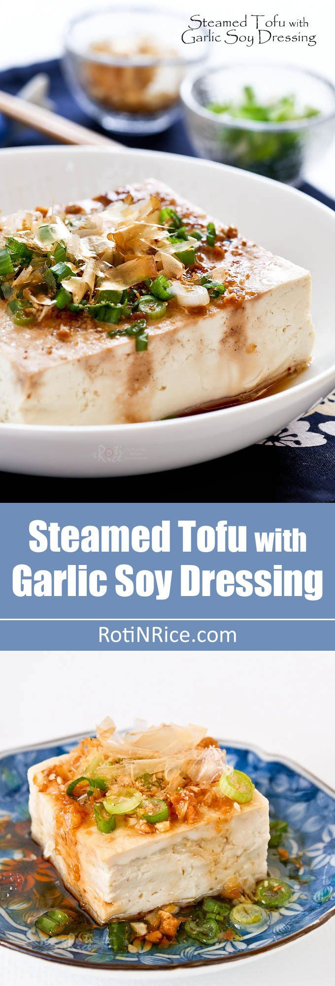 Steamed Tofu with Garlic Soy Dressing - a healthy delicious side dish to go with rice. Can be prepared in under 15 minutes in the microwave. Video instructions. | http://RotiNRice.com