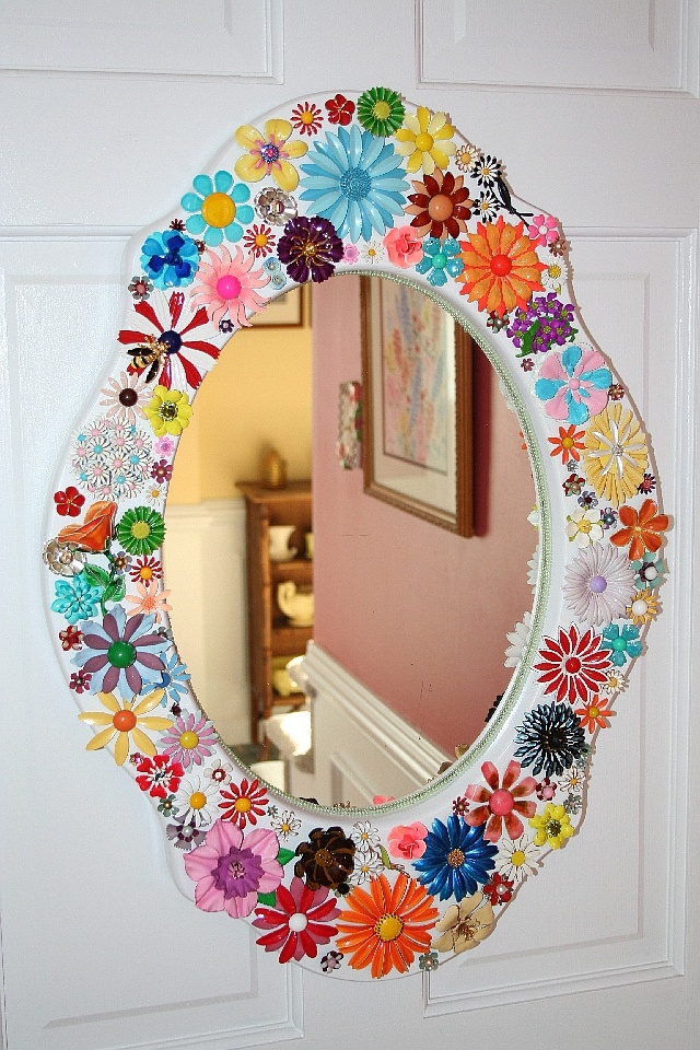 21 best how to use antique brooches images on pinterest for Embellished mirror frame