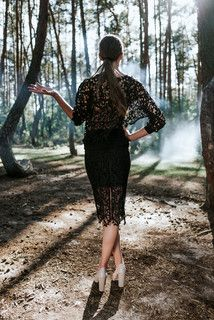 Lace blouse B093. Black.