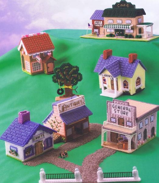 plastic canvas town Would be cute for Tony's train set.