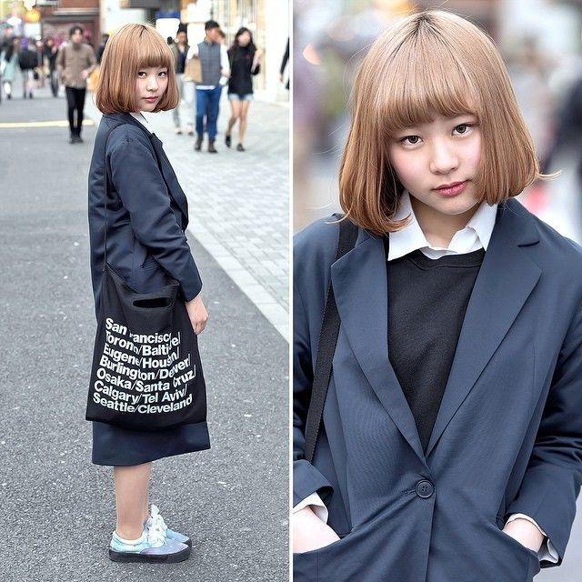 18-year-old @sxixm__ on the street in Harajuku with a cute blonde bob hairstyle,…,  #americ…