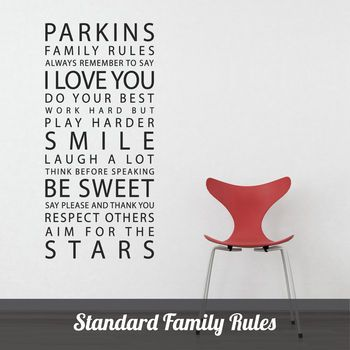 I would also consider this for kitchen but wherever it goes, it is so great! personalised 'family rules' wall sticker by parkins interiors | notonthehighstreet.com