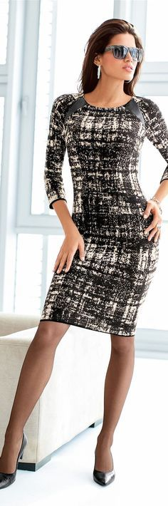 Black and White Dress, Black Pantyhose and Black High Heels