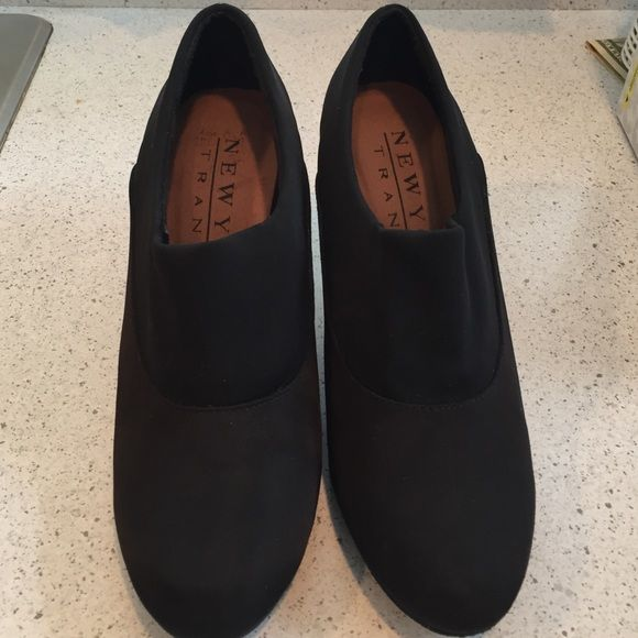 SaleWorn once, black light-weight nylon heels. Shoes are like brand new!  Great for the office.  Brand name is New York Transit. Shoes Heels
