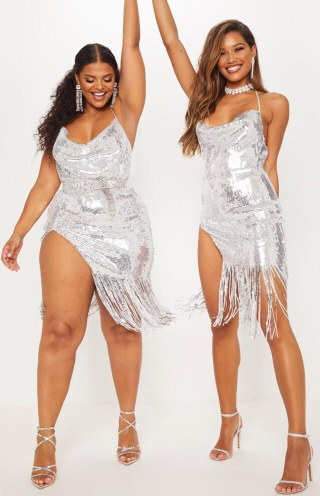 e21394dd19de The Hailey Baldwin x Pretty Little Thing Holiday Collection 2018 | Plus  Size Fashion | Silver sequin, Dresses, Fashion