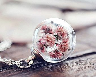 Botanical necklace Gentle pendant natural jewelry cylinder resin necklace boho style white flower charm long pendant silver plated chain