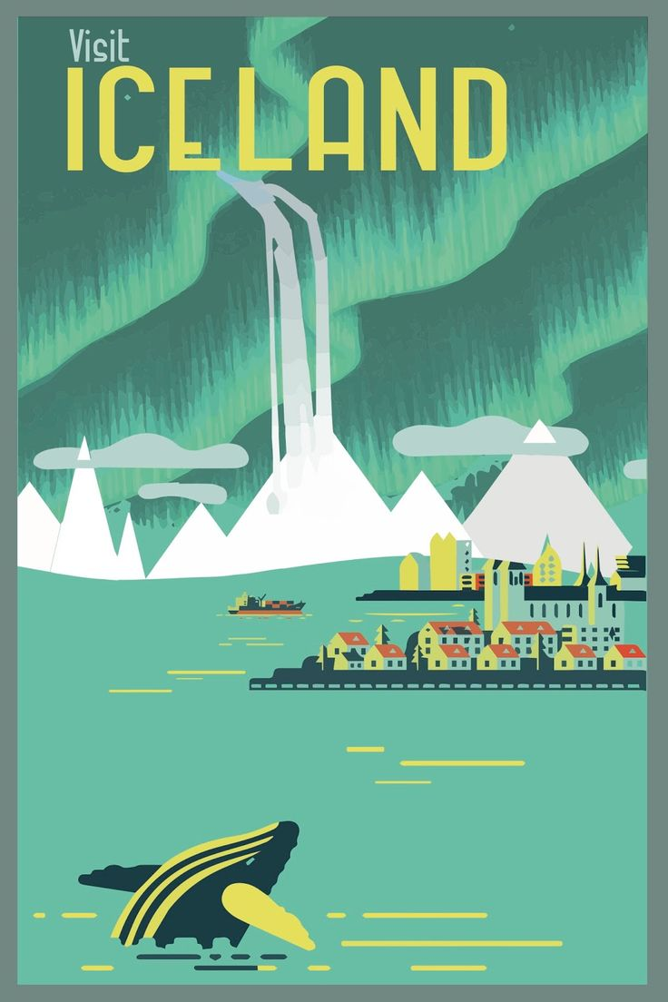 Poster 60 x 80 design - Travel Poster Vintage Iceland Retro Future Flat Old Fashioned Graphic Design