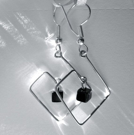 Silver Square Wire Earrings  Square Spiral with by TheGlassRobot, $15.00