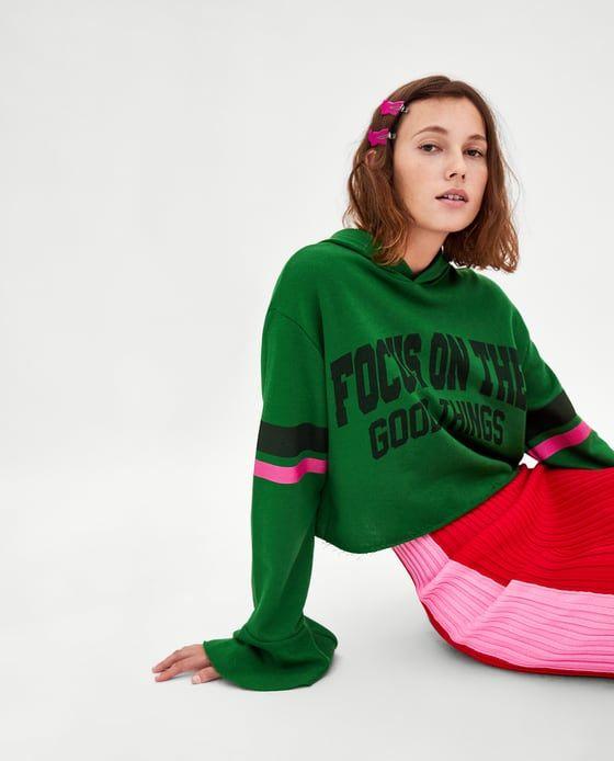 Imagen 3 de SUDADERA CROP VOLANTE de Zara | Cropped hoodie