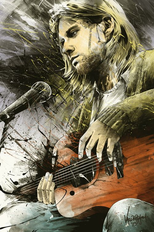 This illustration of Kurt Cobain looks spectacular. Love the dark mood.