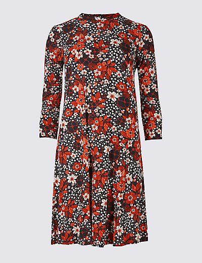 Floral Print 3/4 Sleeve Swing Dress