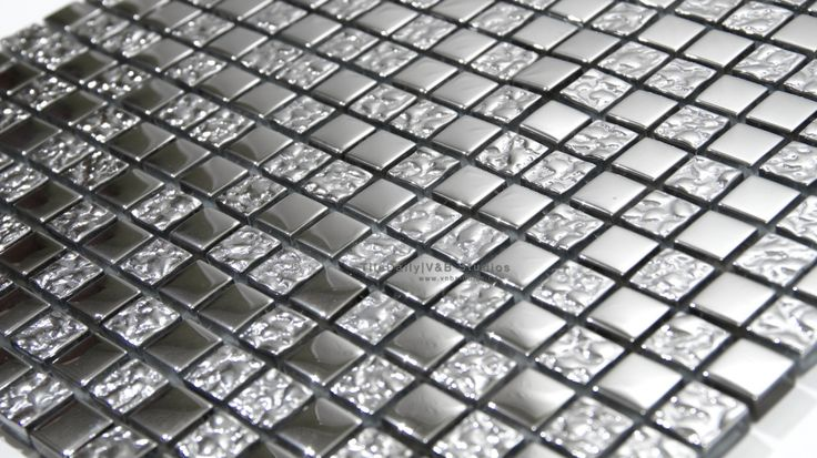 Small Square Iridescent Silver Glass Mosaic #tile #tiles