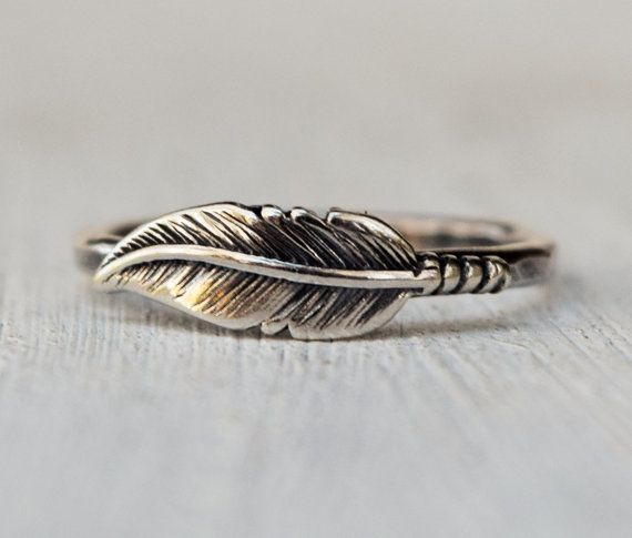 Sterling Silver Feather Ring  Hammered Band  by lovestrucksoul