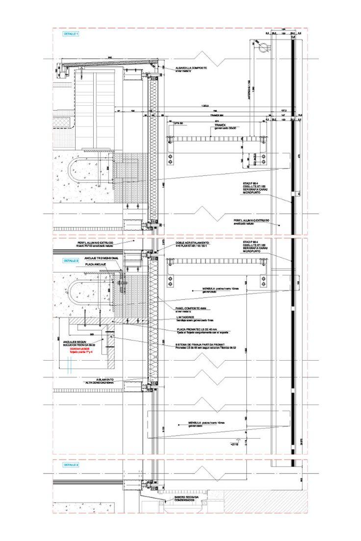 Detalle en sección de la Fachada de Doble Piel de muro cortina para la Dirección General de Patrimonio del Estado ejecutada por Riventi con sistema R70STMejor Fachada en Vidrio 2014
