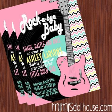 http://mimisdollhouse.com/product/rock-and-roll-baby-shower-invitation-pink/  Rock and Roll Baby Shower Invitation  The Rock and Roll baby shower invitation is personalized to include Name, Age, Date, Time, Location, and RSVP.  Thisr invitation is available in printable JPED and PDF formats.  A coordinating decorations package is available for this theme: http://mimisdollhouse.com/product/rock-and-roll-baby-shower-printable-collection/  #RockandRoll #BabyShower #BabyShowerInvitation