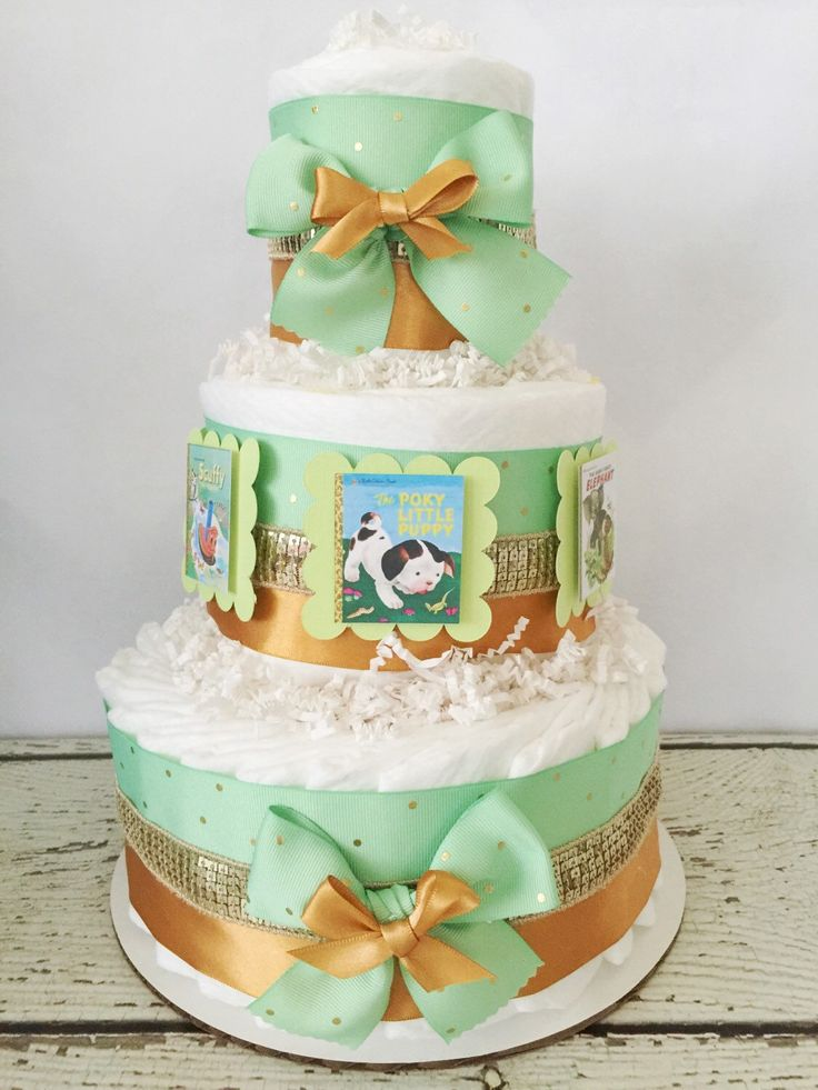 Book Theme Diaper Cake In Mint And Gold, Book Baby Shower Centerpiece,  Decoration By