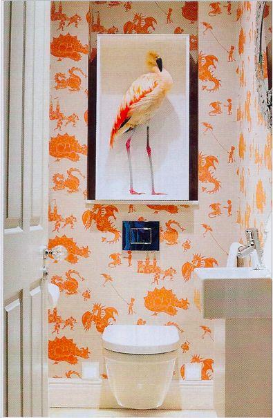 Fun cloakroom toilet Paperboy wallpaper http://www.paperboywallpaper.co.uk