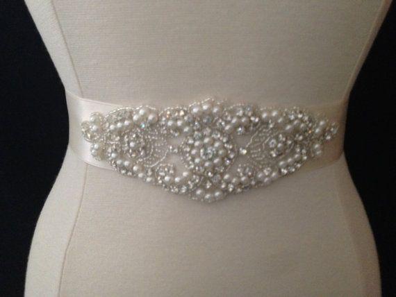 Bridal Sash Belt Pearl And Rhinestone Ivory