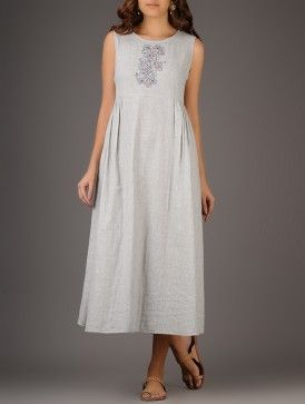 Grey Nakshi Kantha Hand-embroidered Cotton Dress with Gathers by The Wooden Closet.