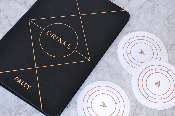 Brand identity, menu cover and coasters for Los Angeles restaurant Paley designed by Mucca, United States