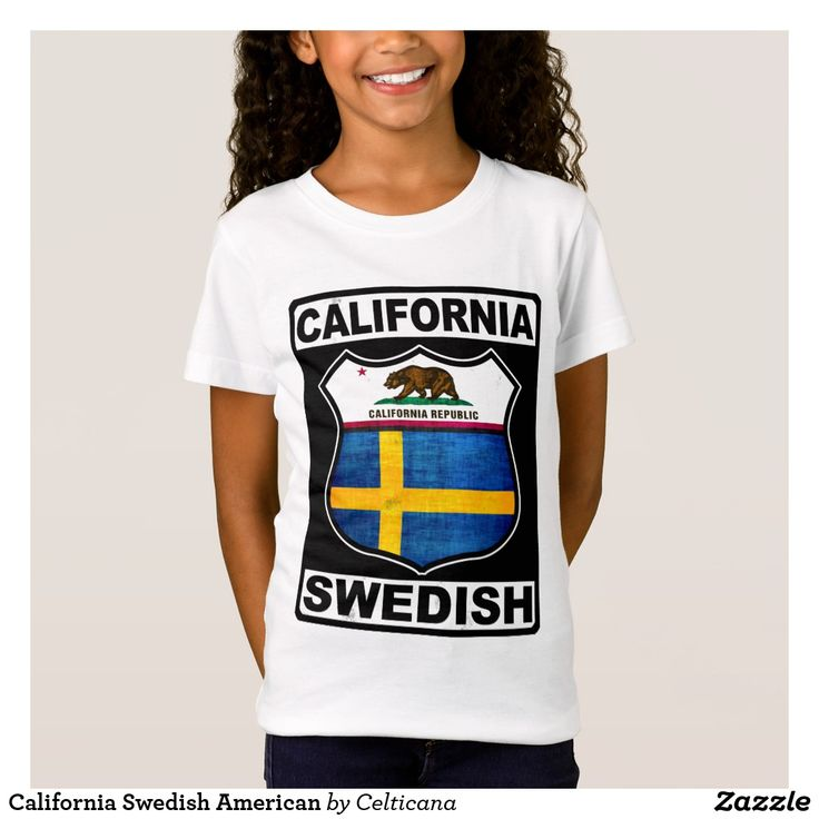 #California #Swedish American T-Shirt. This design is available on a variety of t-shirts, hoodies and other great gift ideas. #SwedishAmerican #Zazzle
