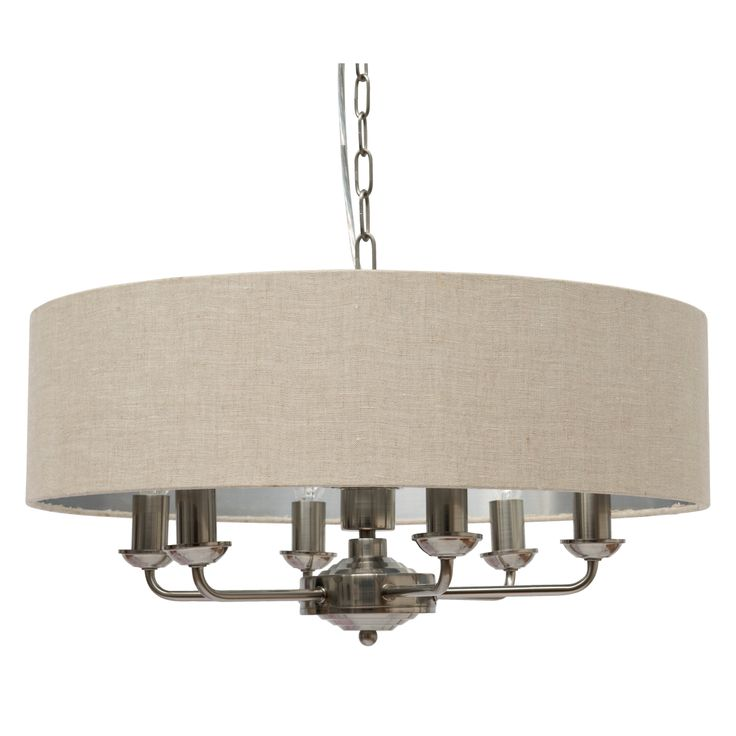 Sorrento 6 Arm Ceiling Pendant With Natural Shades