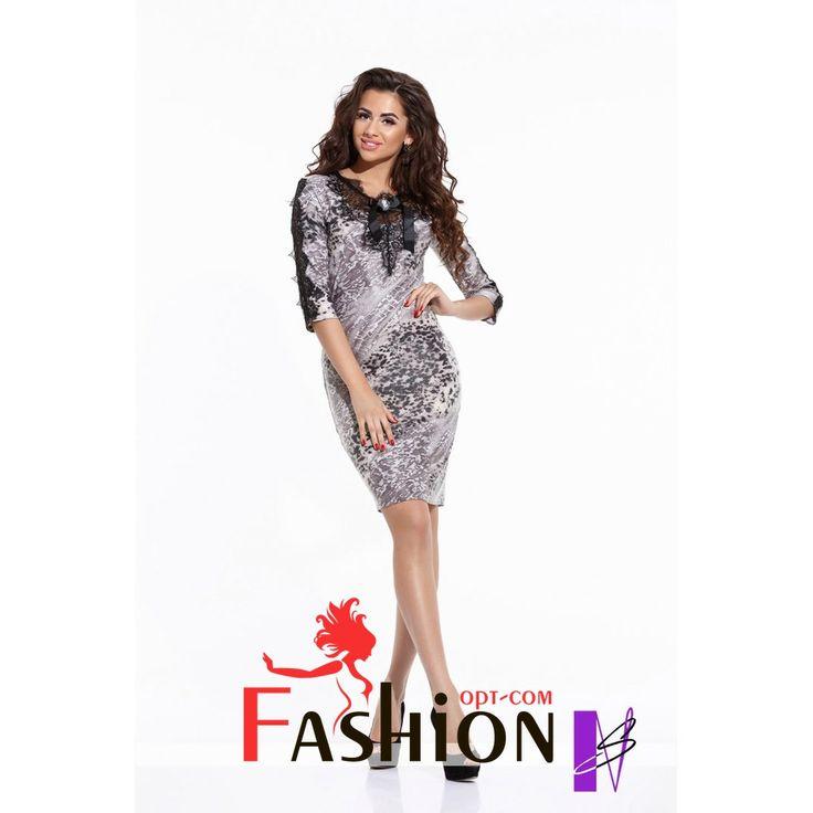 🌷7️⃣2️⃣8️⃣руб🌷 Облегающее платье с декором из французского кружева Арт. 1054 Размеры: S, M, L. Цвета: серый. Материал: микродайвинг принт, французское кружево.