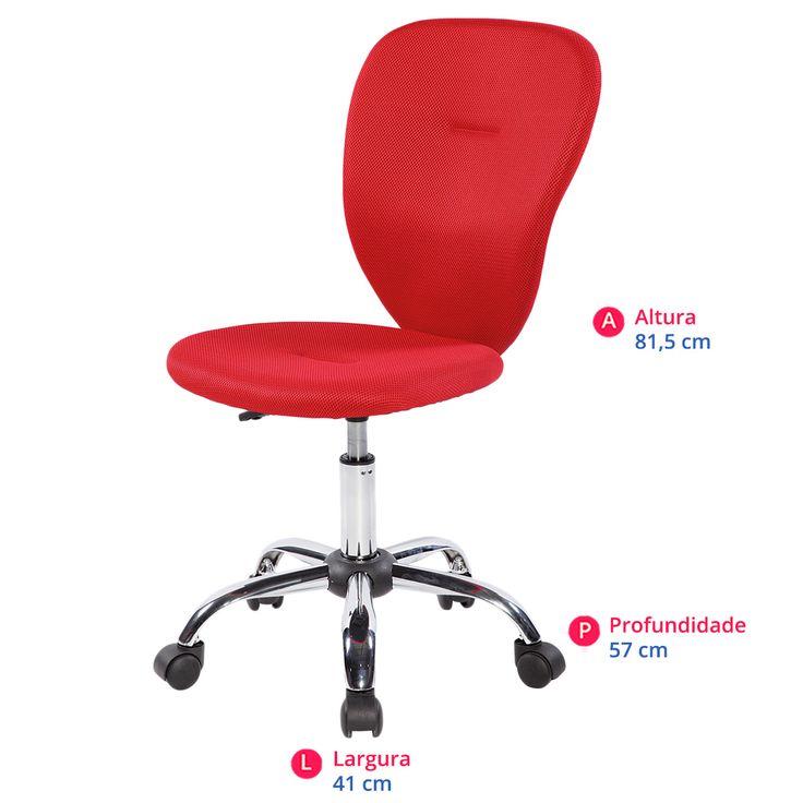 Cadeira para Escritório Carrefour Home Vermelha- HO302686 | Carrefour