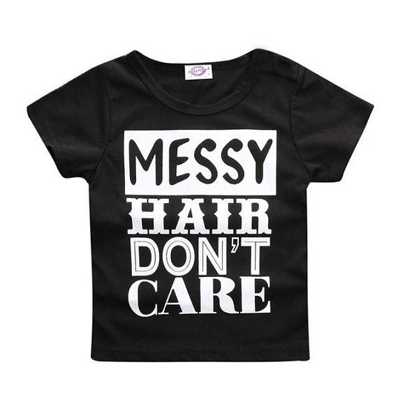 Messy Hair Don't Care Printed Tee
