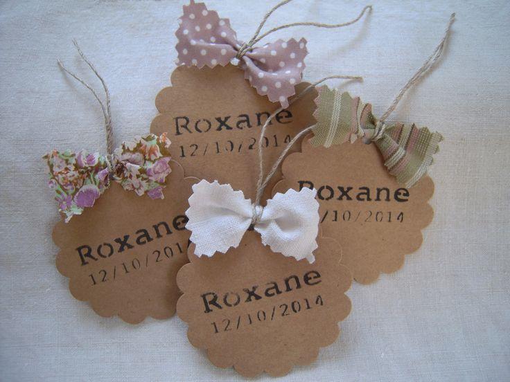 60 étiquettes kraft personnalisées noeuds tissu camaïeu de rose, vert et blanc : Calendriers par 3-petits-sacs