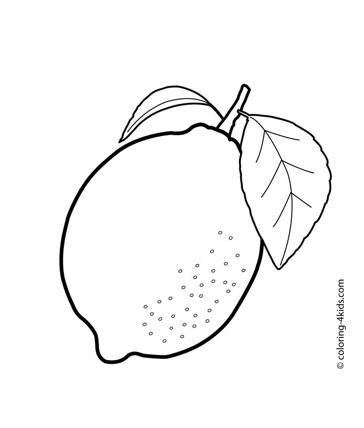 One lemon fruits coloring pages for kids, printable free