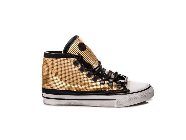 #DIONISO - Up lace sneaker IRON in leather and metal gold   Spring Summer 2014 - Elsa-boutique.it <3