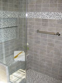 Bathroom, Kitchen Interior Design - eclectic - bathroom - boston - by Mark Luther Design  Love shower tile, niche, grab bar & bench! Maybe use darker grout...easier to clean or at least look clean! LOL