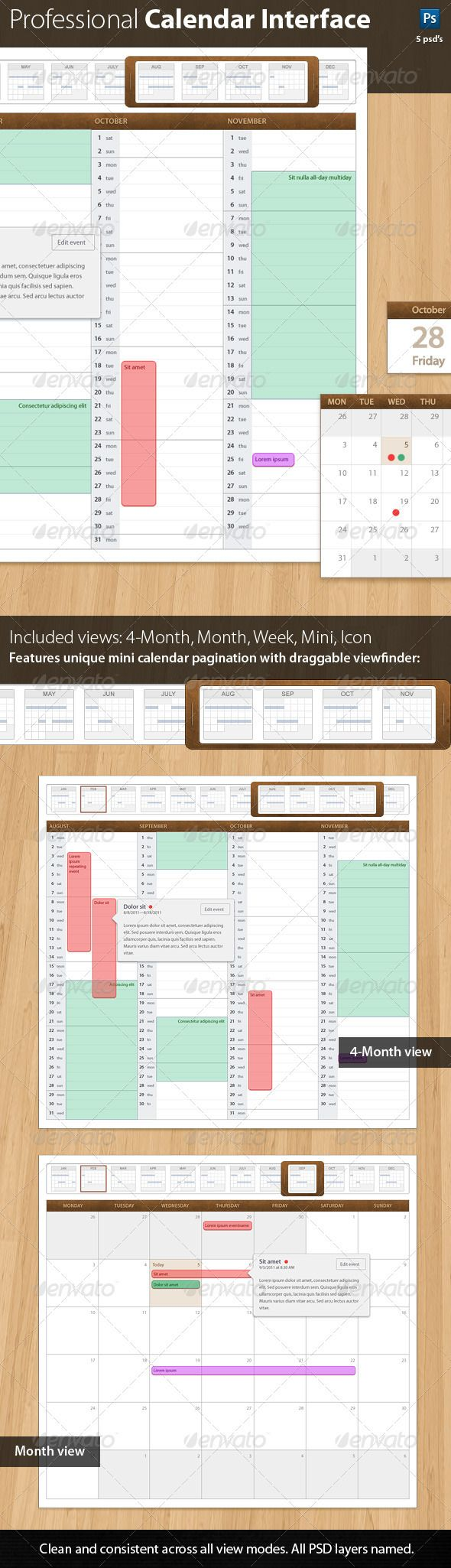 Leatherbound 1.0 Professional Calendar Template - #User #Interfaces #Web Elements Download here: https://graphicriver.net/item/leatherbound-10-professional-calendar-template/595468?ref=alena994