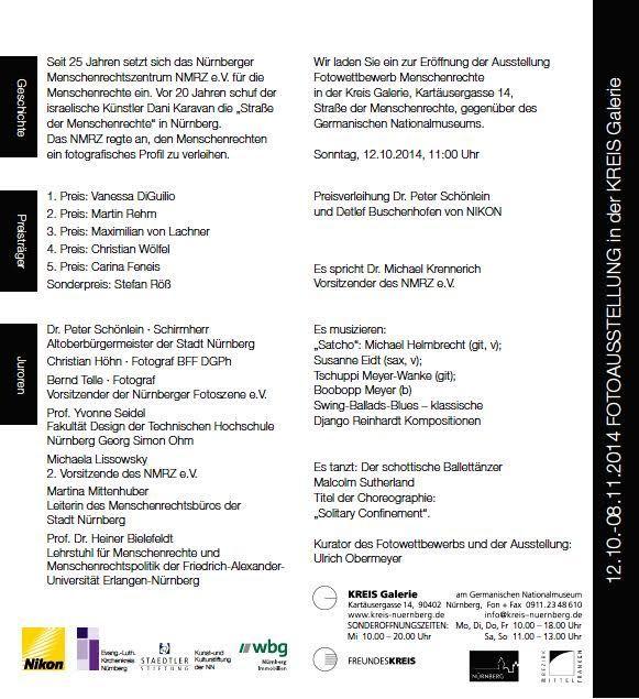 Der Fotowettbewerb Menschenrechte 2014 eröffnet am Sonntag, den 12. Oktober 2014 in der KREIS Galerie gegenüber dem GNM Nürnberg.