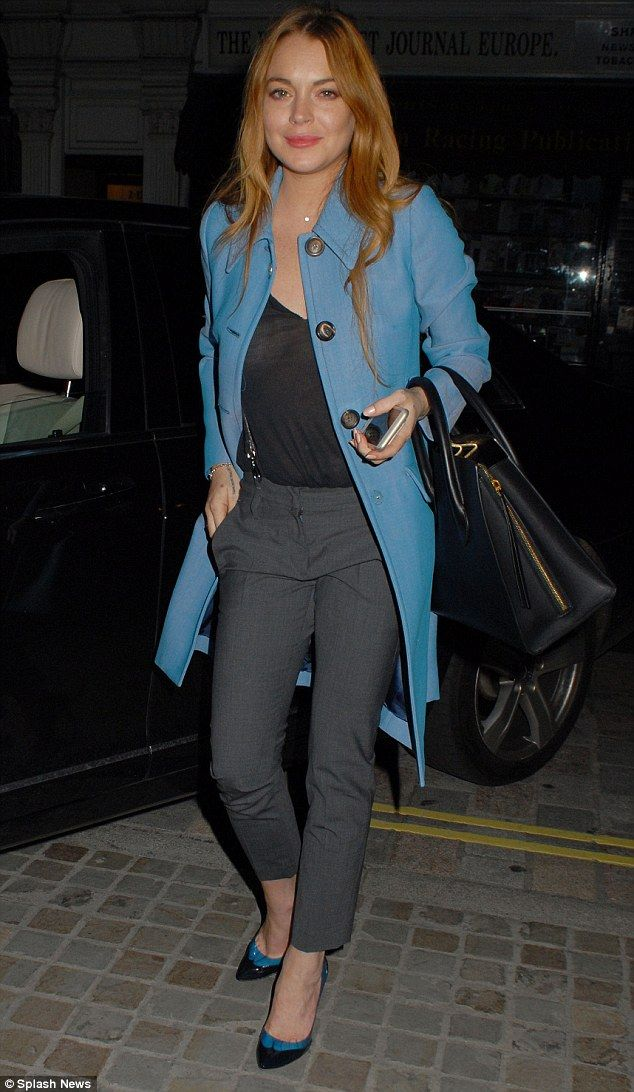 Simply chic: Lindsay Lohan opted to enjoy a lovely dinner following her West End performan...