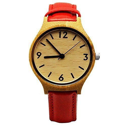 Handmade Wooden Watch Made with Natural Bamboo Wood in Red Faux Leather