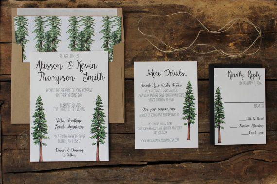 Rustic Tree Wedding Invitation Woodland by PontoMountainPaper