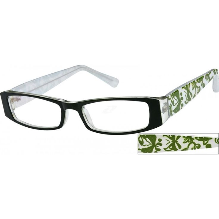 The dark green butterfly pattern on the white temples complements the laminated frame front of dark green over clear.