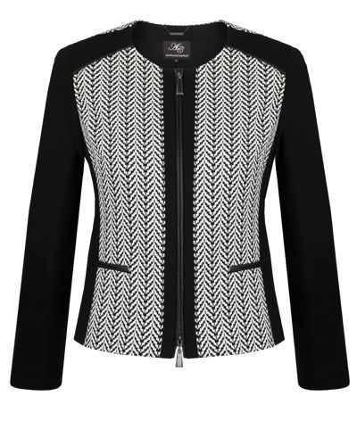 BLACK & VANILLA STRETCH JACQUARD PANEL JACKET - Style Number: ML98206