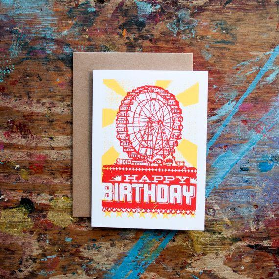 Happy Birthday Ferris Wheel BIR-02 Red Yellow by LurePaperGoods