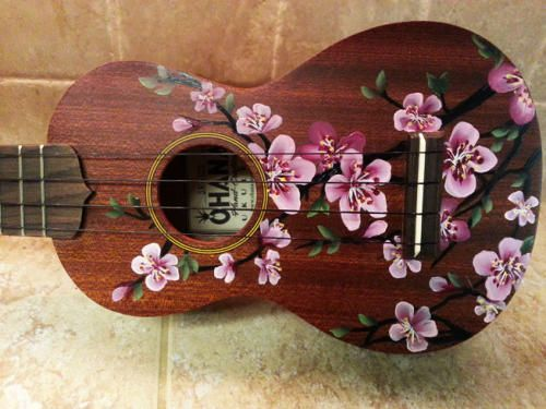 Cherry Blossom Ukulele hand painted by Lemontreeworkshop.com