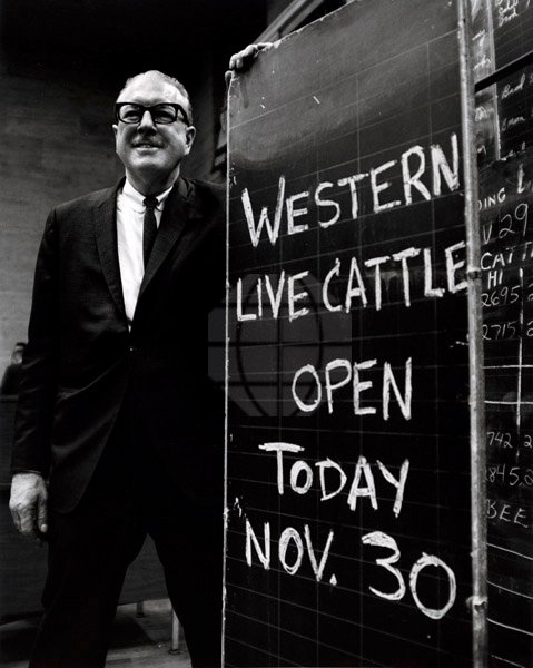 Opening Day of Chicago Mercantile Exchange live cattle futures on November 30, 1964 at 110 N. Franklin.