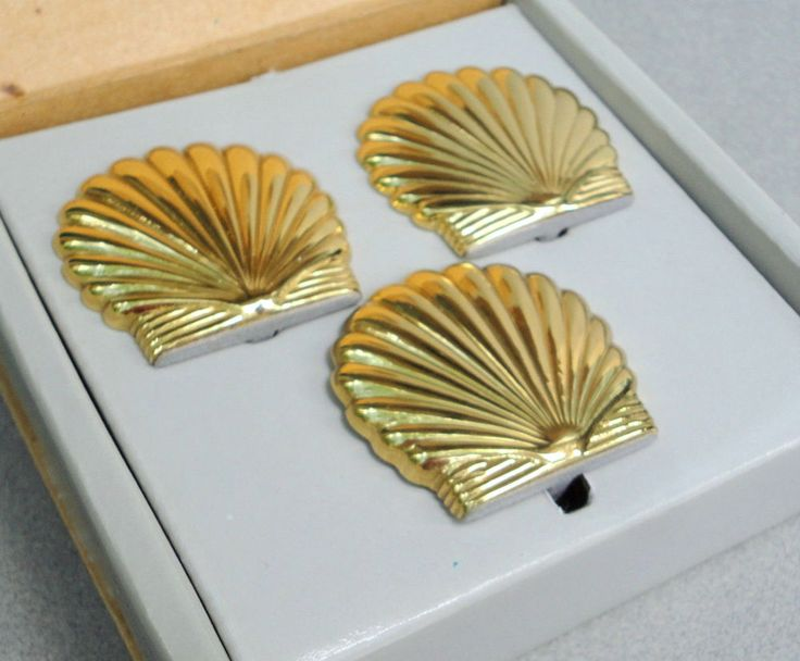 PartyLite Seacrest Set Gold Scallop Seashell #Hurricane Shade #Stand 3 pc Orig Box #PartyLite