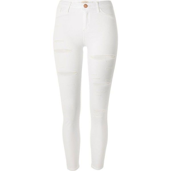 River Island White ripped Molly jeggings (115 CAD) ❤ liked on Polyvore featuring pants, leggings, jeans, distressed jeggings, denim jeggings, skinny jean leggings, ripped jeggings and white leggings