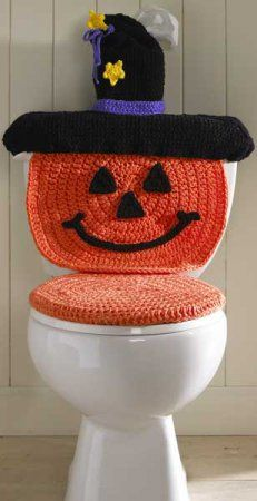 Crochet Pumpkin Witch Toilet Cover for Halloween