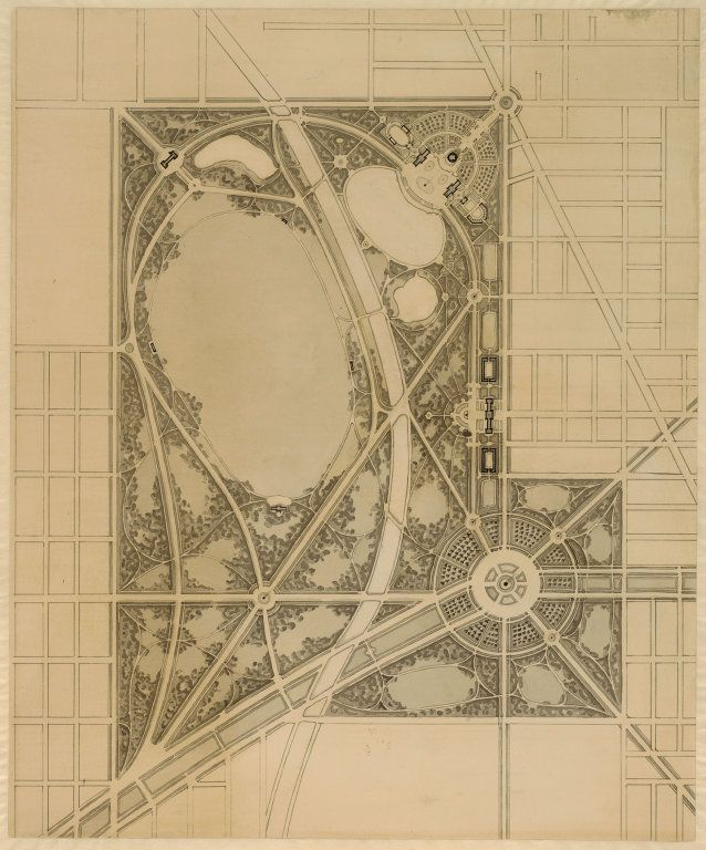 Plate_63_Daniel Hudson Burnham, American, 1846-1912 Edward Herbert Bennett, American, born England, 1874-1954 Plate 63 from The Plan of Chicago, 1909: Chicago. Plan of a Park Proposed at the North Branch of the Chicago River and Graceland Avenue., 1909