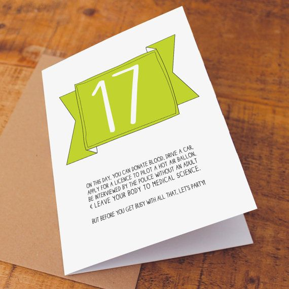 Wondrous Funny 17Th Birthday Card To Celebrate The Legalities Of Funny Birthday Cards Online Necthendildamsfinfo